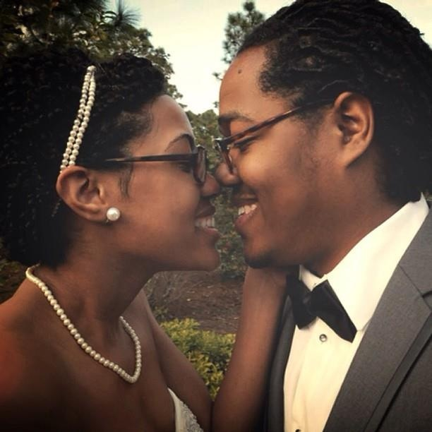 Natural hair bride and groom with locs  Black love Married Bow tie Pearls  Glasses No make up  Wedding day