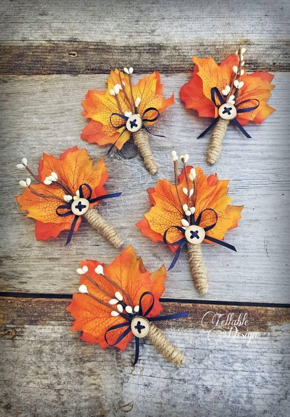 Fall wedding boutonniere Maple leaves and twigs with handmade ...