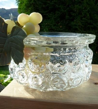 Stilig 70- talls fruktskål i glass