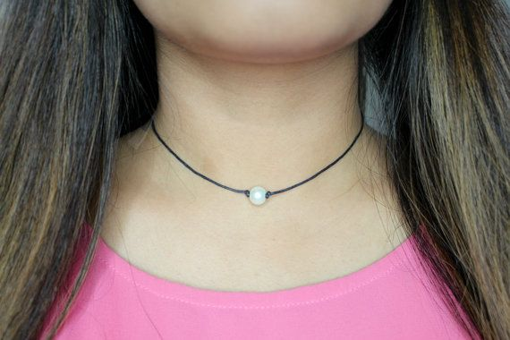 Leather Pearl Choker Necklace  Leather and Pearl by GlamDiaries