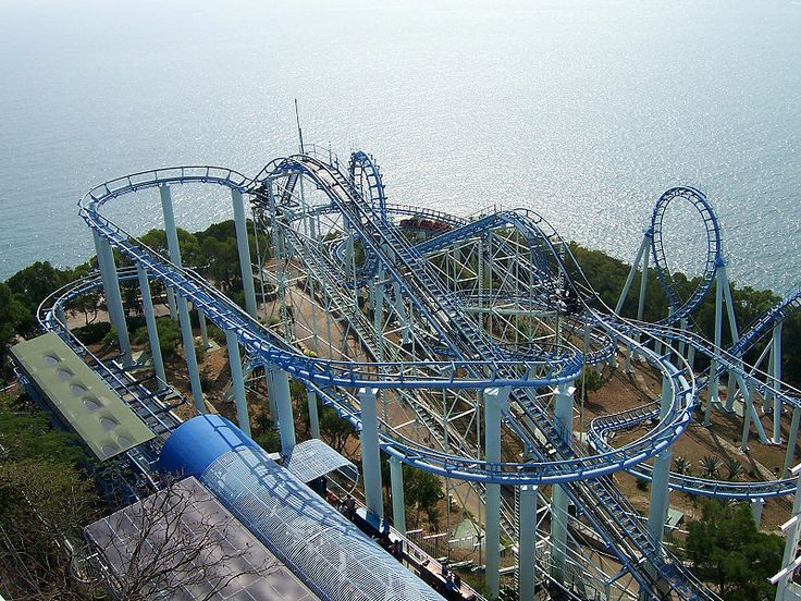 The Dragon at Ocean Park. Hong Kong, China. Hong Kong's largest roller coaster with a super high speed. Roller coaster cars turn and twist through two giant loops on the 842-metre-long track.