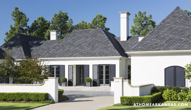 White house, grey trim, charcoal grey shutters, grey roof. Love this scheme / house design
