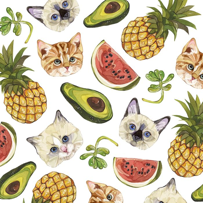 Every girls will screaming when see Laura Manfre's illustration of cat with fruit's pattern! But don't miss out portraits for man and geisha...