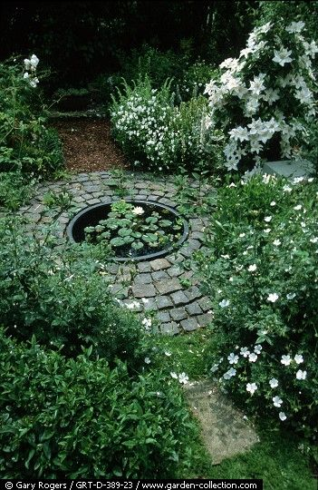 White garden with small round water feature, lovely!