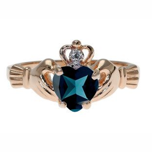 Rose Gold Diamond London Blue Topaz December Birthstone Heart Irish Claddagh Ring Gemologica.com .