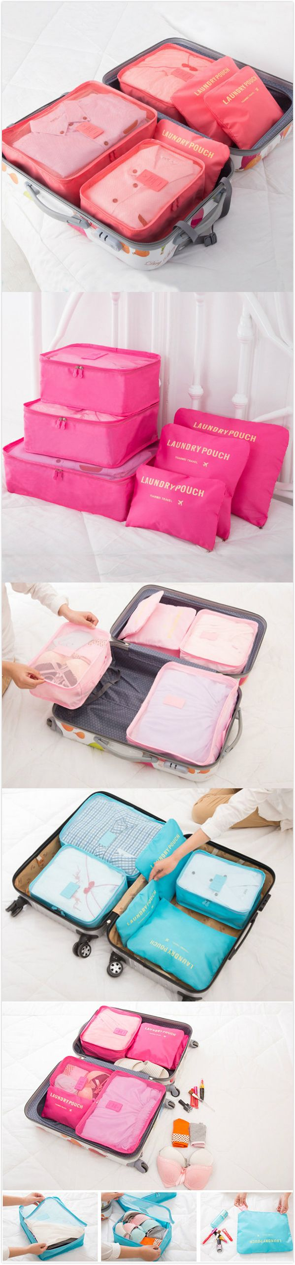 [$ 9.89]    6PCS Waterproof Nylon Cube Travel Storage Bag Clothes Cosmetic Bag Luggage Pouch Bag