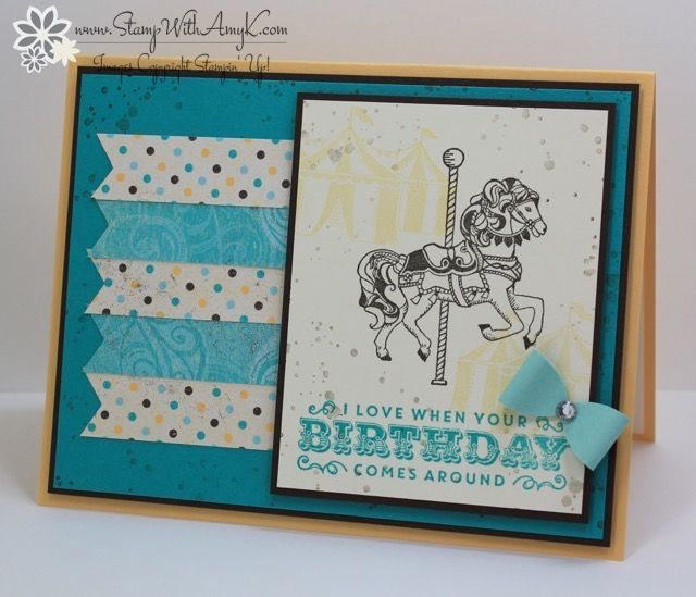 I used the Stampin' Up! Carousel Birthday stamp set to create my card to share with you today. My card design was inspired by Sketch Saturday #455. The theme for my card was inspired by Globa…
