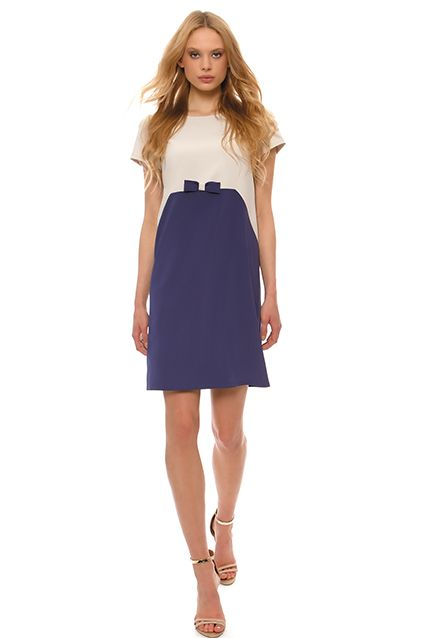 Dresses : Two colored crepe dress with bow tie for large sizes