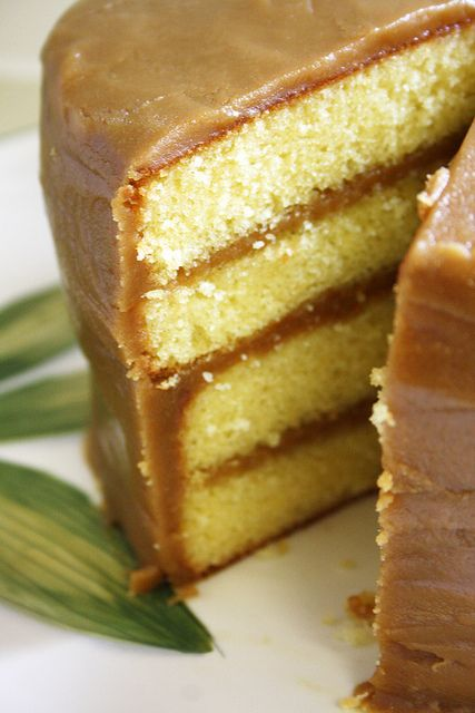 Yellow Cake with Caramel Icing