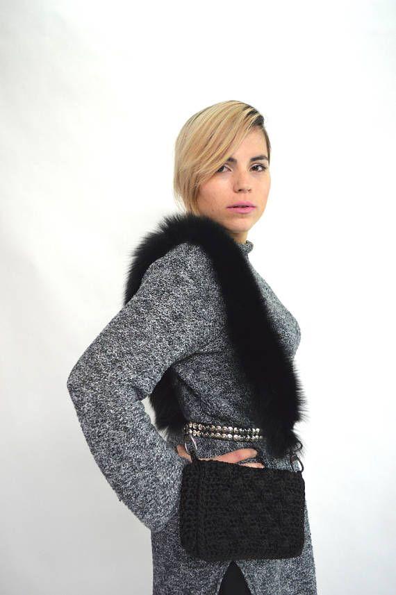 Real fur bag strap black fox fur strap black fur belt hand