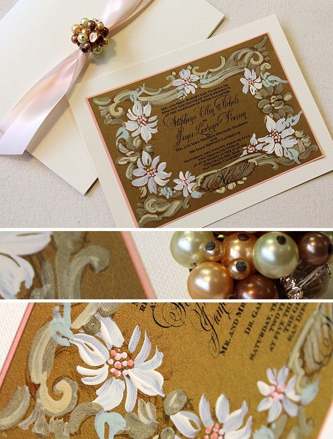 White floral frame wedding invite. Each flower is painted white and coral on dark gold cardstock.  #weddinginvitations #momentaldesigns #goldweddinginvite