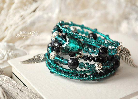 FREE SHIPPING  Beautiful Wrap Bracelet Swarovski by ShellenD