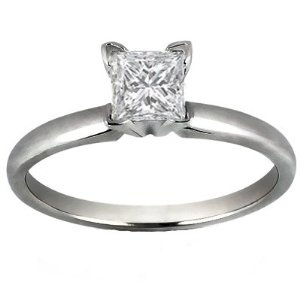 0.75 Ct. K-I3 Princess Cut Diamond Solitaire Engagement Ring By Dara's Diamonds Set in 14k White Gold Size 11 --- http://www.pinterest.com.luvit.in/2i.