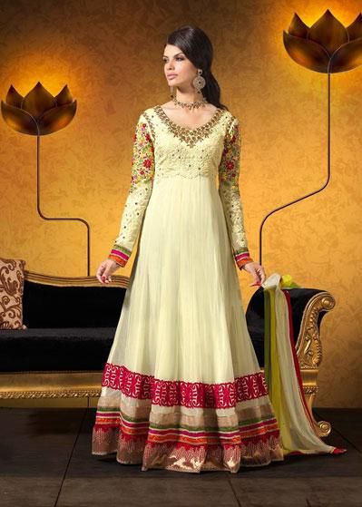 USD 114.26 Cream Floral Patch Work Floor Length Anarkali Suit