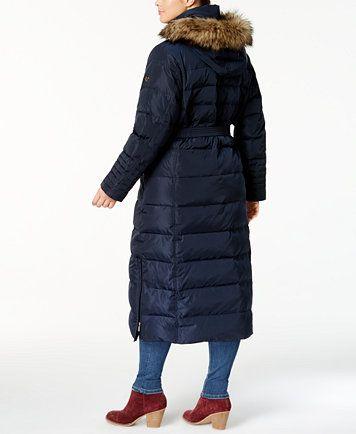 MICHAEL Michael Kors Plus Size Belted Faux-Fur Hooded Maxi Down Coat | macys.com