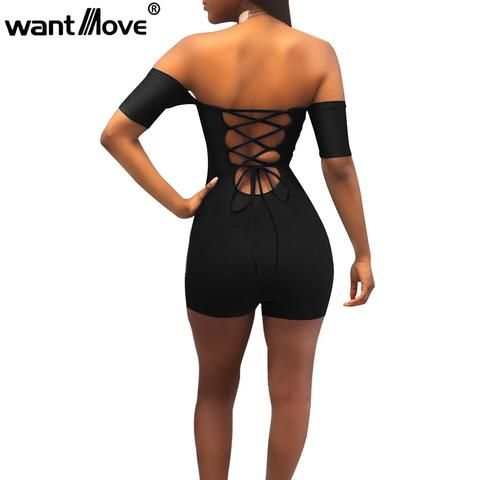 7d793bacc07e Wantmove women sexy off shoulder lace up bodycon rompers womens jumpsuit  2018 summer club party shorts bodysuit romper JZ071