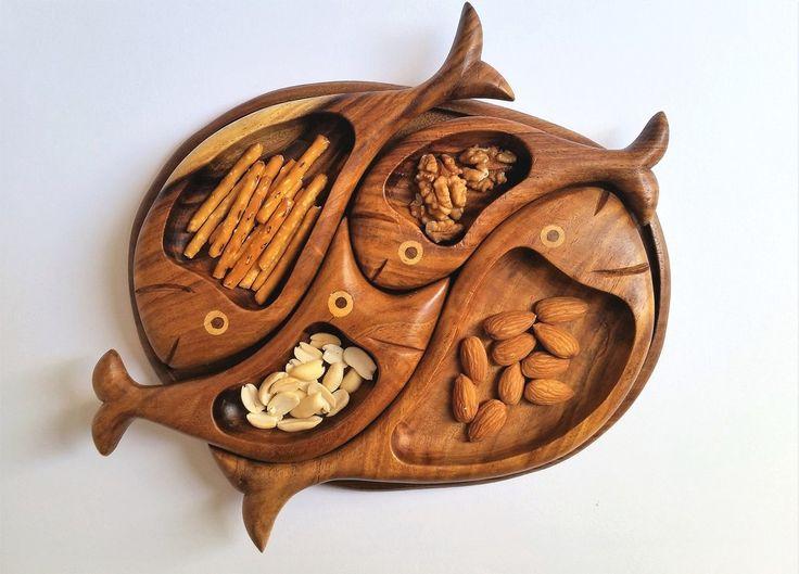 4 fish wooden snack platter | Rybičková drevená tácka na oriešky