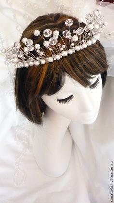 """Купить Свадебный ободок-тиара""""Crystal Star"""" - белый, для прически неветы, аксессуар для волос, аксессуар для невесты"""