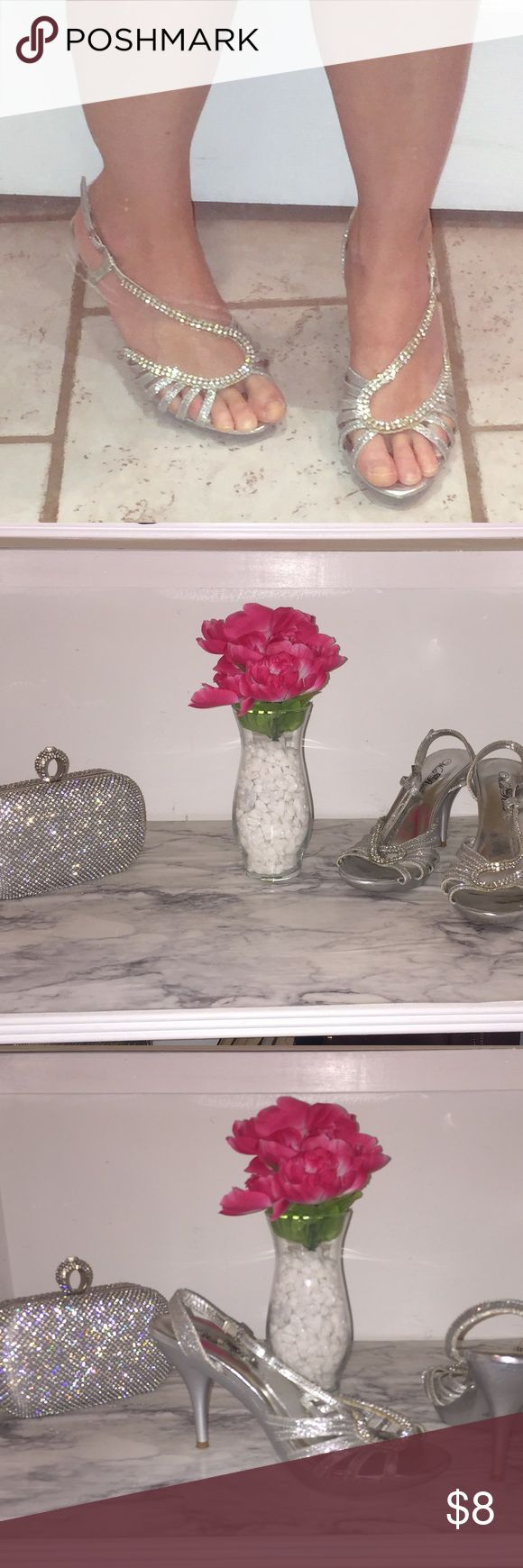 Silver high heels! 3in heels silver sparkle, perfect for bridesmaid dresses! Wild Rose Shoes Heels