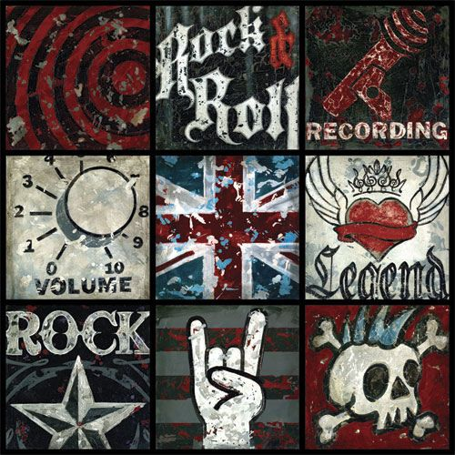 Rock And Roll Large Wall Canvas