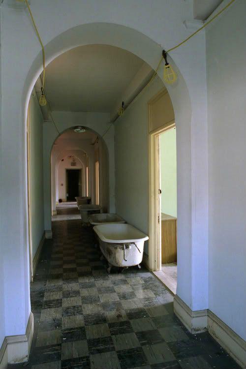 bathtubs in hallway