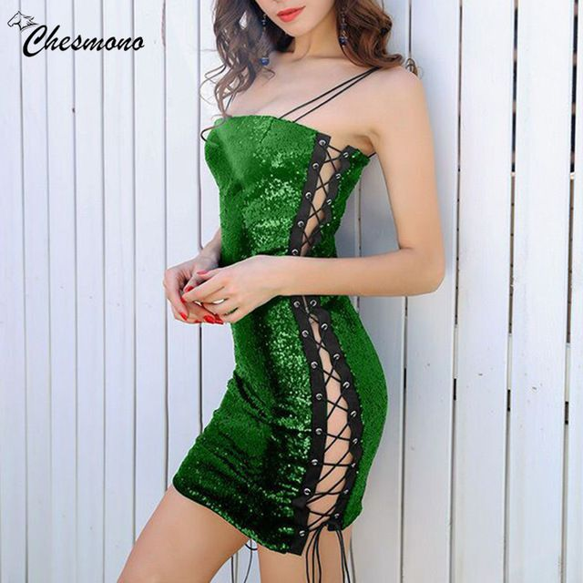 Women's Sexy Sequined Eyelet Lace-up mini Spaghetti Bodycon Dress Nightclub Clothes for party Short Camisole Vestidos