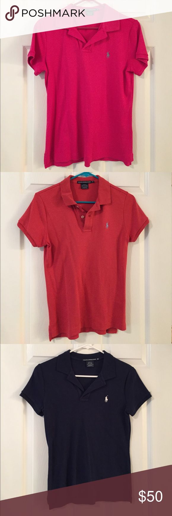 Set of 4 slim fit Ralph Lauren polos Set of 4 slim fit Ralph Lauren polos. All are slim fit except for the pink one. Colors: Bright pink, Nantucket red, navy blue and light blue, can separate for $10 each. Ralph Lauren Tops
