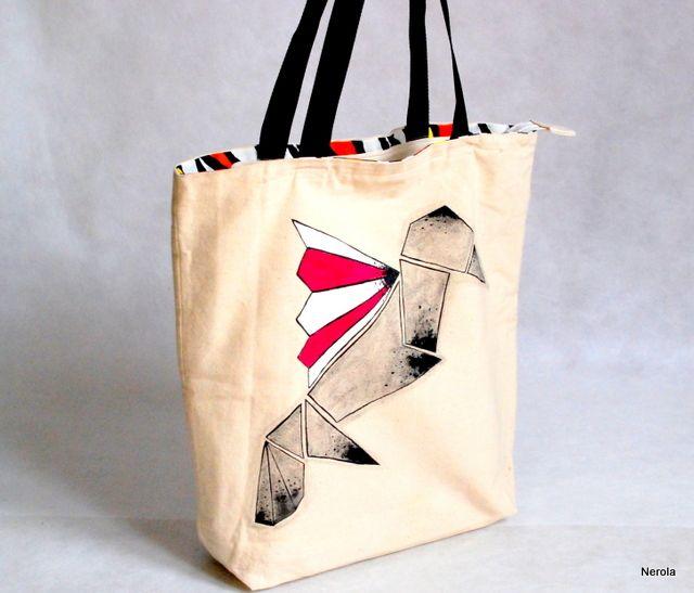 Torba XL z kolorowym ptakiem ręcznie malowana | http://dekoeko.com/product/torba-xl-z-kolorowym-ptakiem-recznie-malowana/ | Kup na www.dekoeko.com