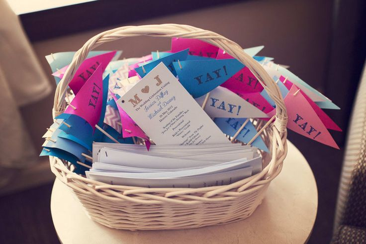 Hand out homemade stamped pennants for your guests to wave around after the ceremony: