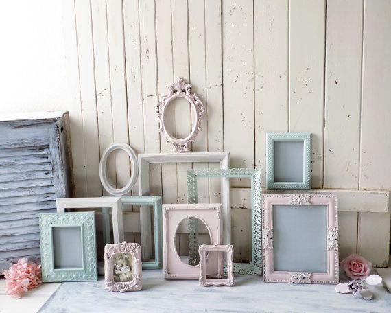 Pink and Mint Nursery Frame Set Antique White by WillowsEndCottage