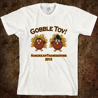 Gifts for the Thanksukkah Celebration: Give commemorative Gobble Tov tees to everyone at your Thanksgiving table. #hanukkah #thanksgiving #gifts #giftyguide