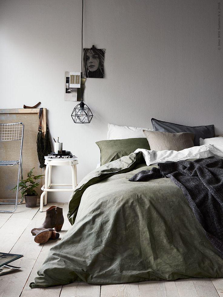 Green and grey IKEA bedroom
