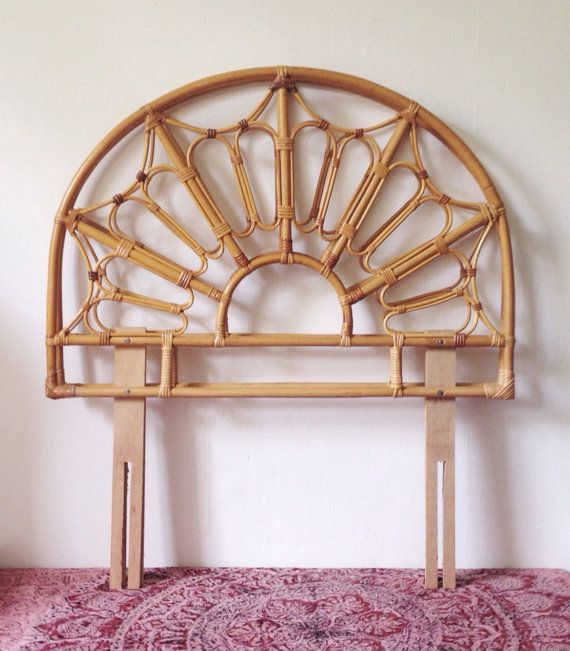 Pair of vintage bamboo headboards for single beds by VelvetEra