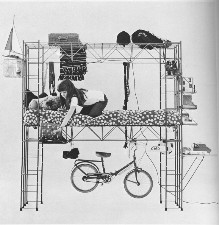 """Abitacolo (""""Cockpit"""" or """"Cabin"""") is a 1971 lightweight bed structure designed by Italian artist, designer and writer Bruno Munari, that doubles as an educational toy. Children are free to play with the essential structure and modify it in order to suit their needs and build different two open..."""