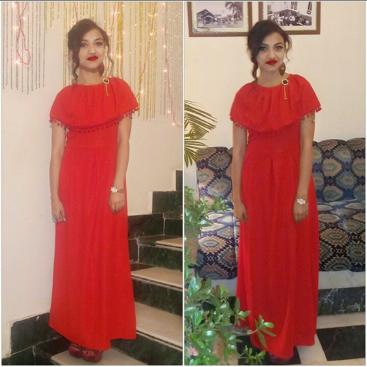 Long red gown wit pom pom lace