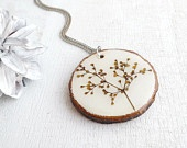Pressed Flower Wood Pendant - Handmade Resin jewelry for nature lovers