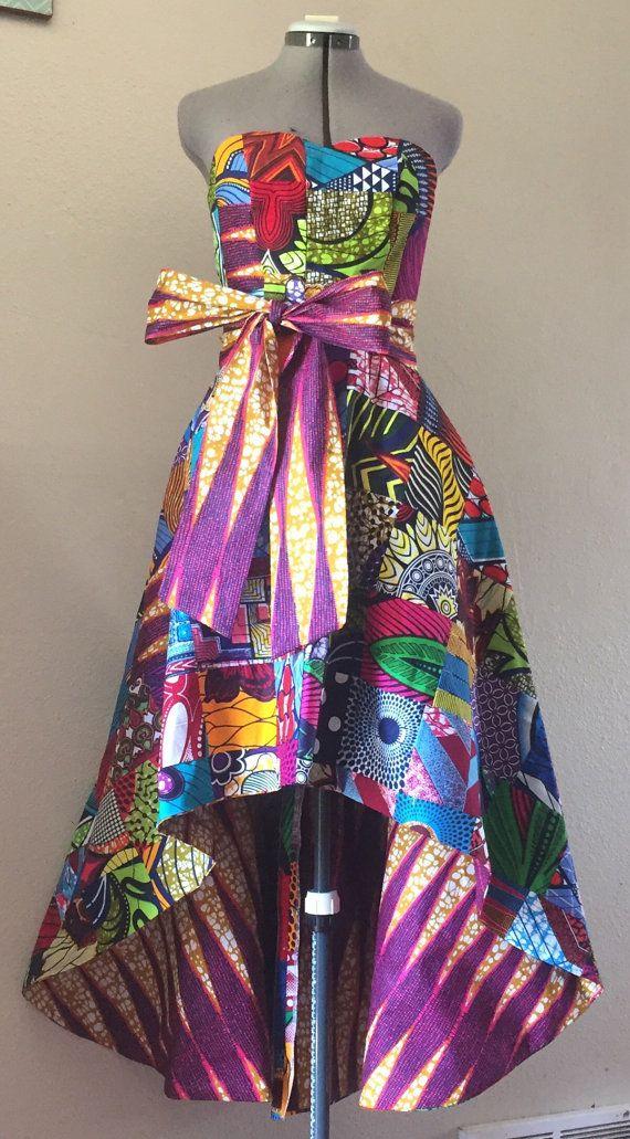Wax hollandais Patchwork haute bas de robe corsage chérie avec poches et…