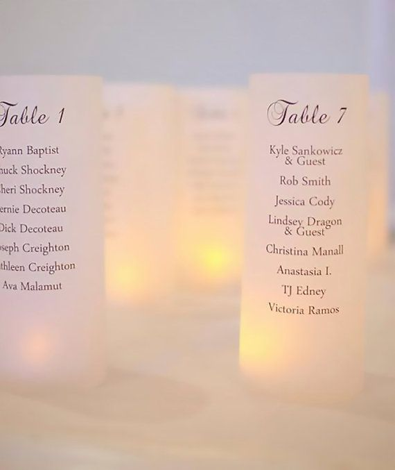 Luminary Seating Plan Wedding Table Decor by GawkStationery
