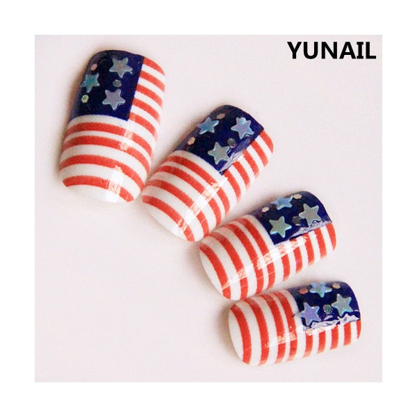 Q american flag false nail adhesive long design square toe nail art... ❤ liked on Polyvore