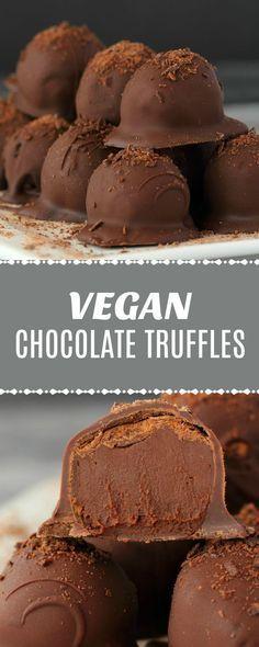 Reichhaltige und luxuriöse vegane Schokoladentrüffel. Ein dekadentes Schokoladen-Ganache-Center