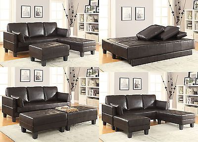 Recliner Sofa Dark Brown Leatherette Convertible Sofa Bed Couch Sleeper Ottoman Sectional Set