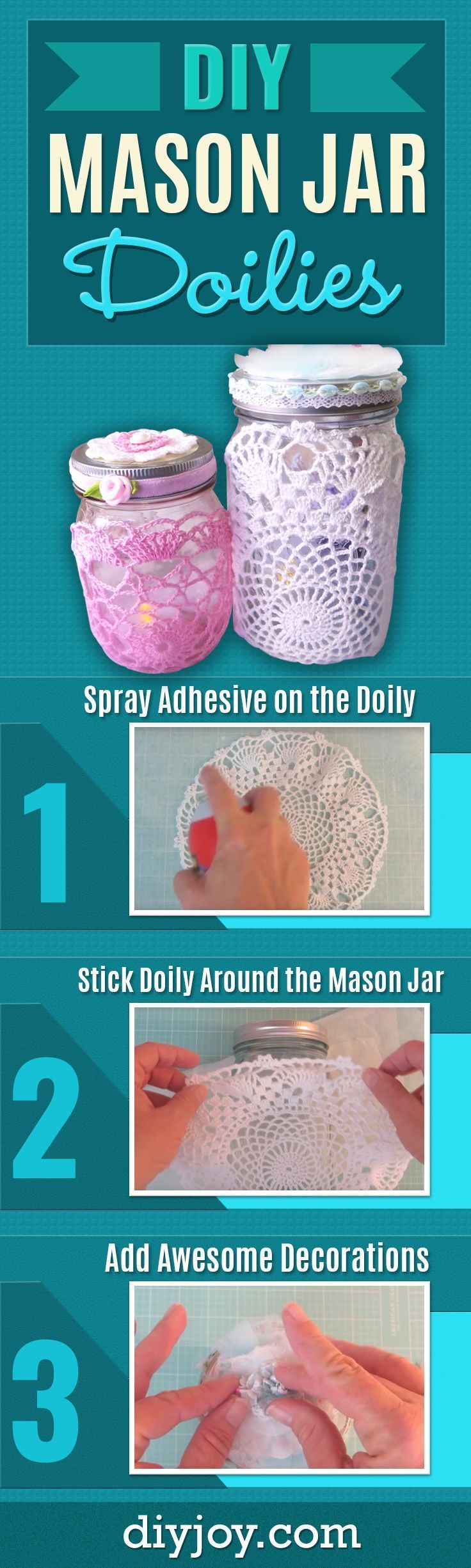 DIY Mason Jar Crafts With Doilies - Cute DIY Home Decor and Rustic, Country Crafts for Cool Christmas Presents - How To Make Mason Jars With Doilies for Creative DIY Lighting and Table Decor
