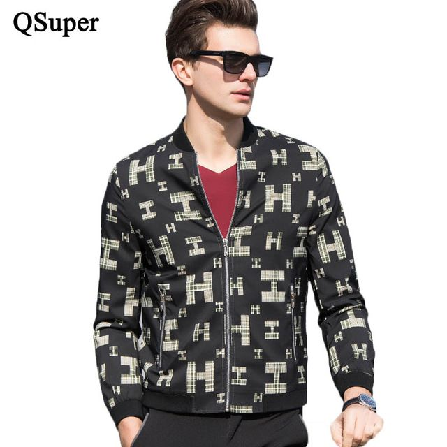 Good price QSuper Summer Men Jackets Casual College Thin Slim Stylish Letters Printed Fashion Stand Collar Windbreaker Brand Streetwear just only $27.42 with free shipping worldwide  #jacketscoatsformen Plese click on picture to see our special price for you