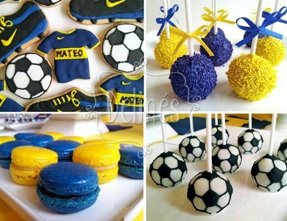 Mesa dulce para cumpleaños con la temática de Boca Juniors       https://delinesmesadulce.files.wordpress.com/2014/06/futbol-boca-detalles.jpg