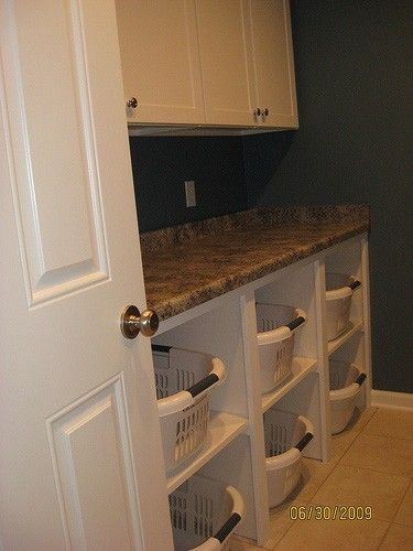 Laundry room organization; I like the cubby for laundry basket!