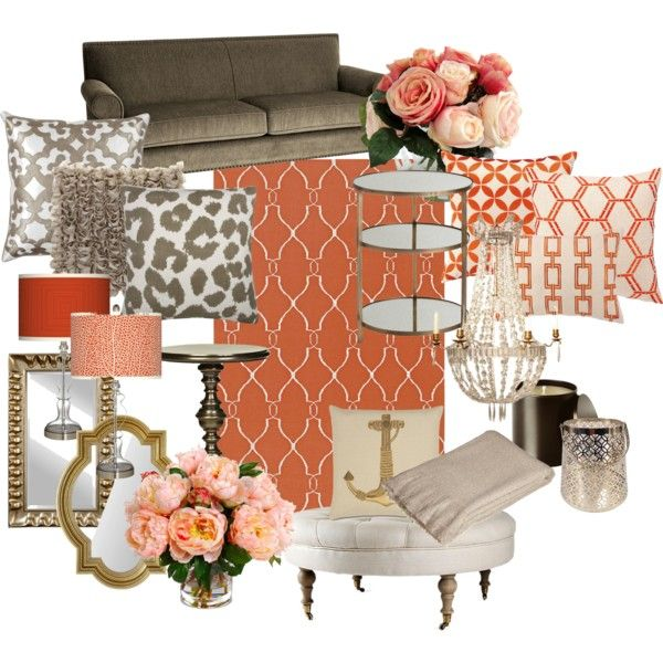Coral and Gold Living Room by chloeg01 on Polyvore featuring interior, interiors, interior design, home, home decor, interior decorating, Pier 1 Imports, Arteriors, Universal Lighting and Decor and OKA