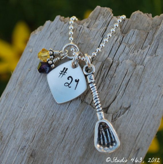 Personalized Lacrosse Necklace Team Sports Jewelry by Studio463, $45.00