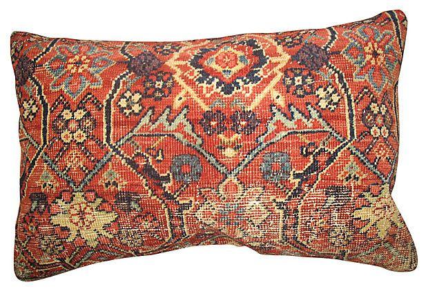 Pillow Made From An Antique Persian Mahal Rug Khaki Cotton Back Zipper Closure