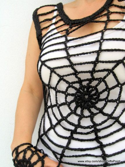 Gothic Fashion Black Halloween Spider Web Top. by GiftsPoint, $30.90