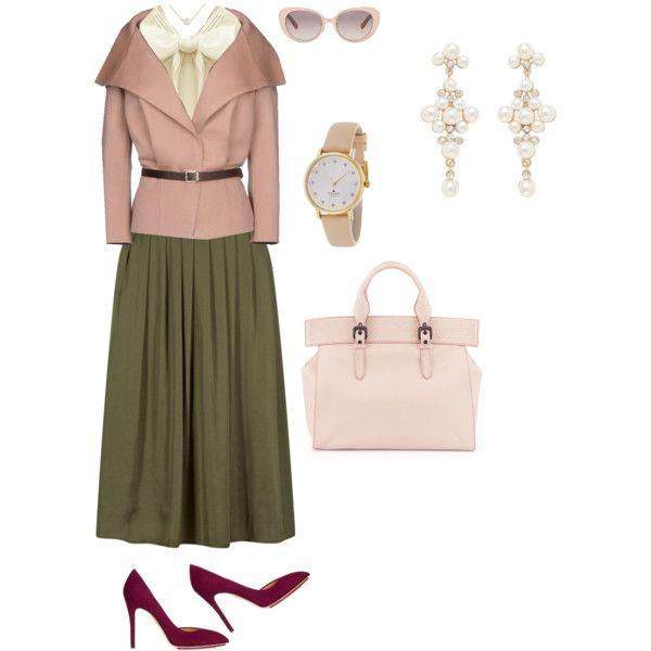 Olive Skirt + Feminine Style by edeln on Polyvore featuring, Dsquared2, Charlotte Olympia, Bottega Veneta, Kate Spade, Forever New and Linda Farrow